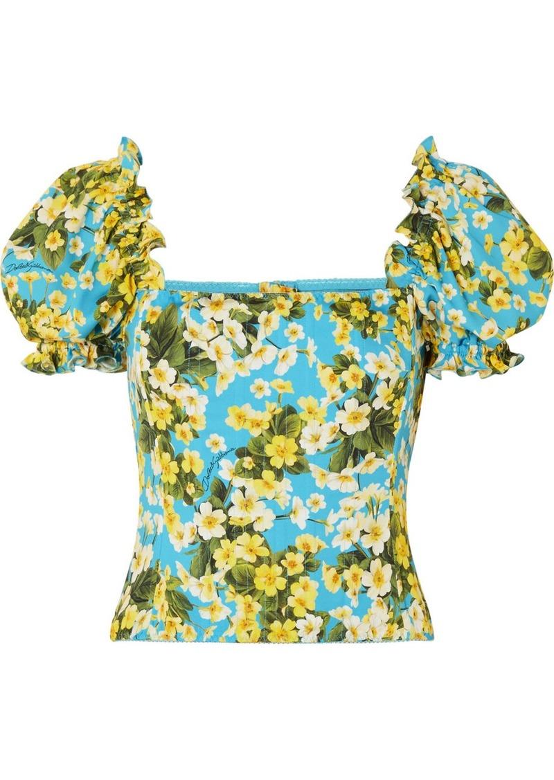 Dolce & Gabbana Ruffled Floral-print Stretch-silk Blouse