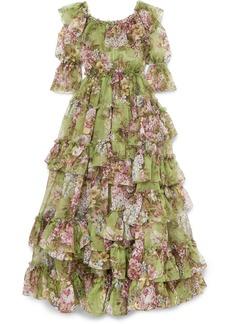 Dolce & Gabbana Ruffled Tiered Floral-print Silk-chiffon Gown