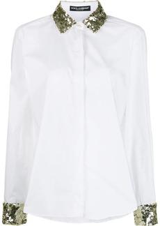 Dolce & Gabbana sequin embroidered poplin shirt