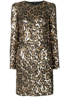 Dolce & Gabbana sequined leopard-print mini dress