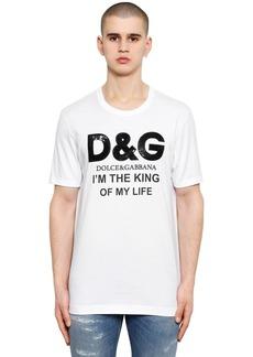 Dolce & Gabbana Sequined Logo Cotton Jersey T-shirt