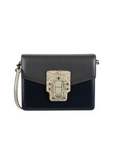 Dolce & Gabbana Serpentine-Print Studs & Buckle Shoulder Bag
