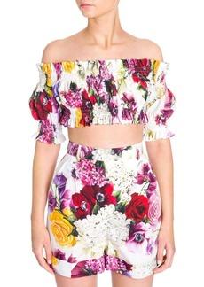 Dolce & Gabbana Shirred Floral Off-The-Shoulder Crop Top