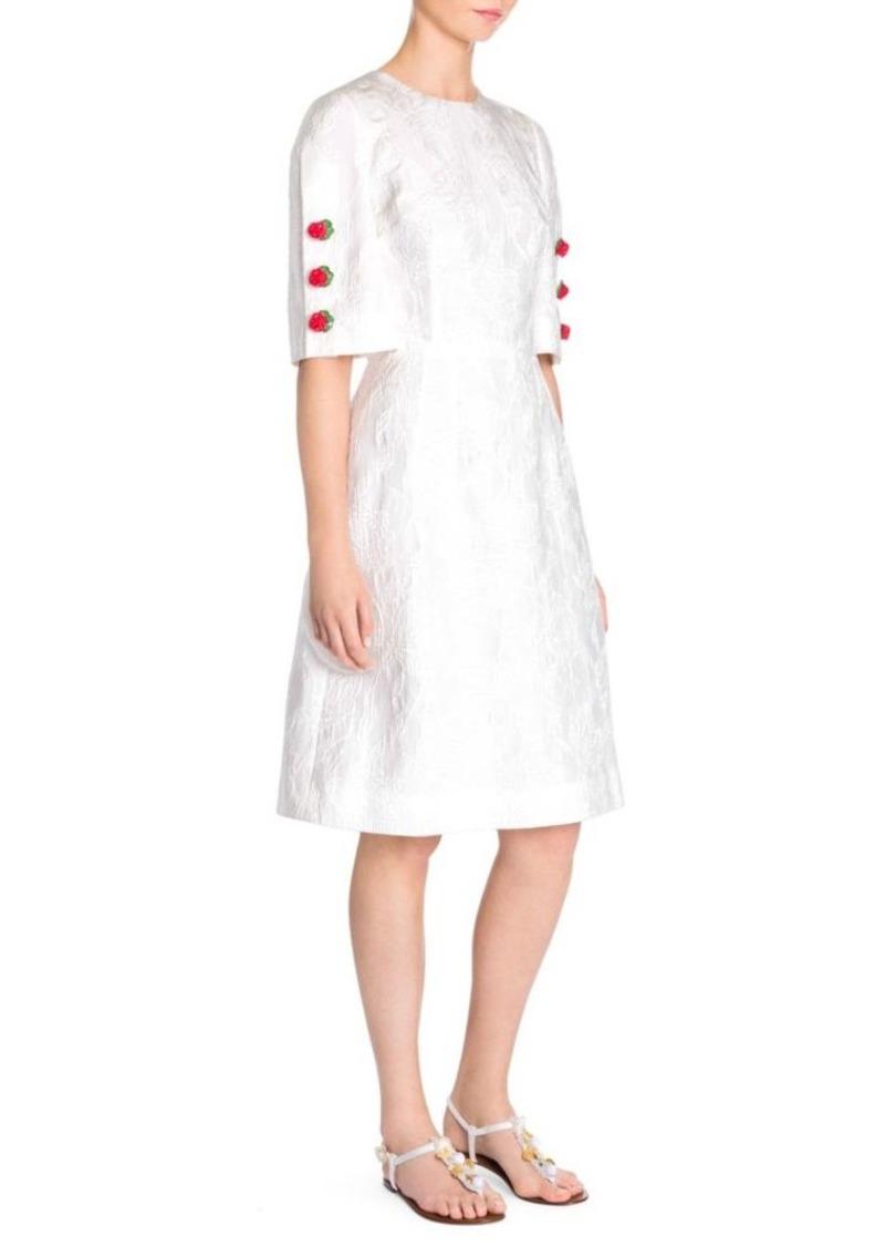 Dolce & Gabbana Jacquard Rose Button Dress