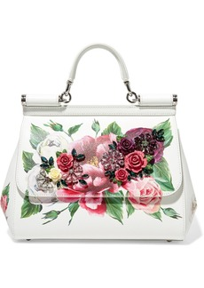 Dolce & Gabbana Sicily Medium Embellished Printed Textured-leather Tote