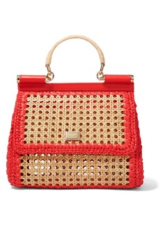 Dolce & Gabbana Sicily Medium Leather-trimmed Raffia Tote