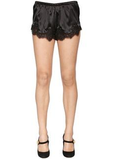 Dolce & Gabbana Silk Satin Shorts W/ Lace Trim