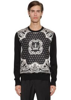 Dolce & Gabbana Silk Twill & Virgin Wool Knit Sweater