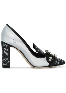 Dolce & Gabbana Silver Leather Bellucci 95 pumps