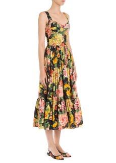 Dolce & Gabbana Sleeveless Poplin Bustier Ruffle Hem Dress