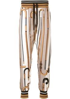 Dolce & Gabbana walking-stick print silk track pants