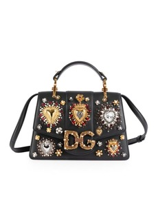 Dolce & Gabbana Small DG Amore Embellished Leather Top Handle Bag