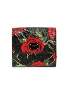 Dolce & Gabbana Small Roses Dauphine Leather Wallet