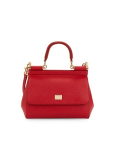 Dolce & Gabbana Small Sicily Dauphine Leather Satchel