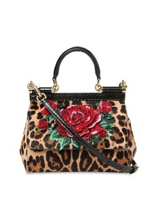 Dolce & Gabbana Small Sicily Embroidered Leather Bag