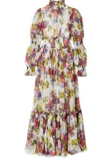 Dolce & Gabbana Smocked Floral-print Silk-chiffon Maxi Dress