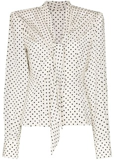 Dolce & Gabbana square-shoulder polka dot blouse