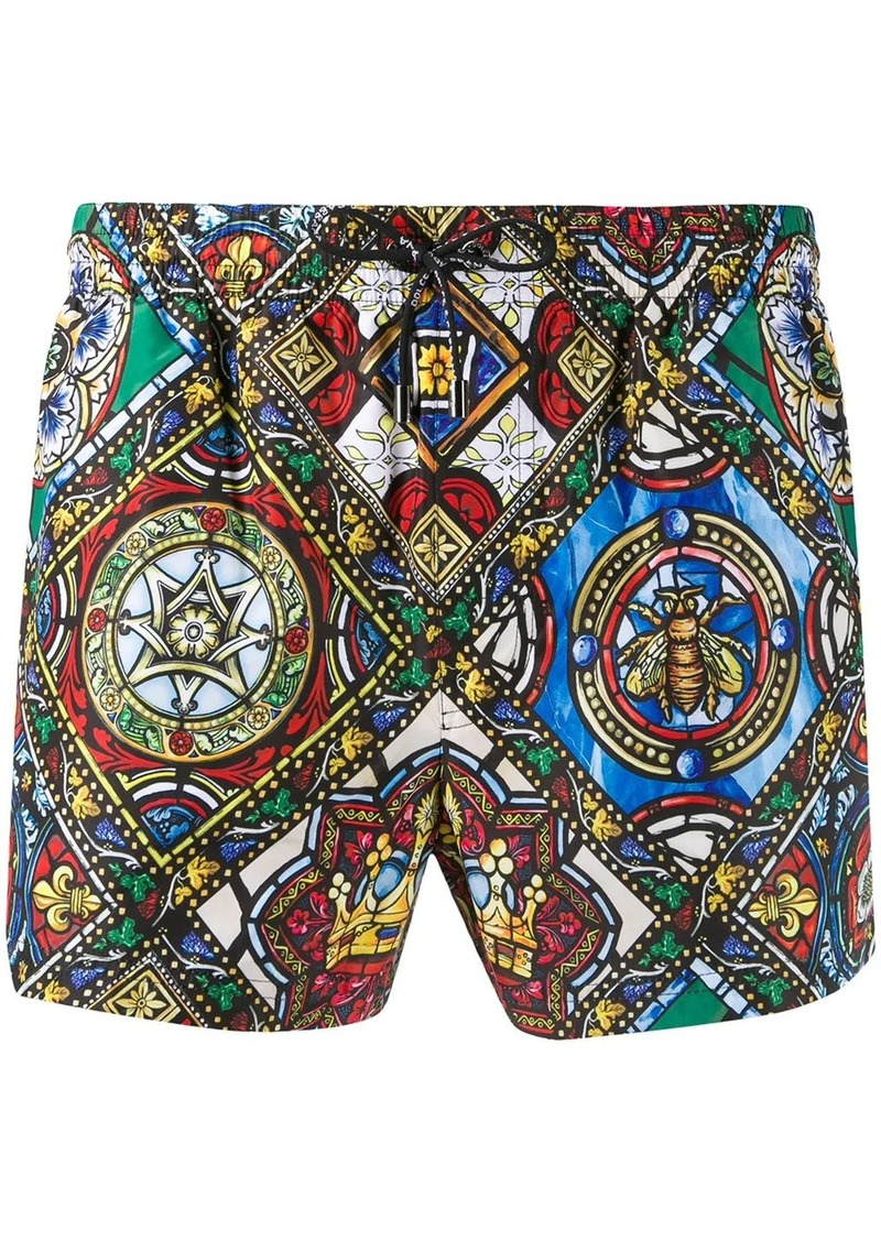 Dolce & Gabbana stained-glass print swim shorts
