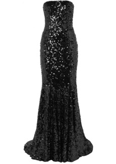 Dolce & Gabbana Strapless Sequined Tulle Gown