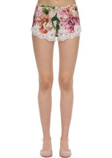Dolce & Gabbana Stretch Charmeuse & Lace Shorts