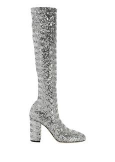 Dolce & Gabbana Stretch Silver Sequin Disco Boots