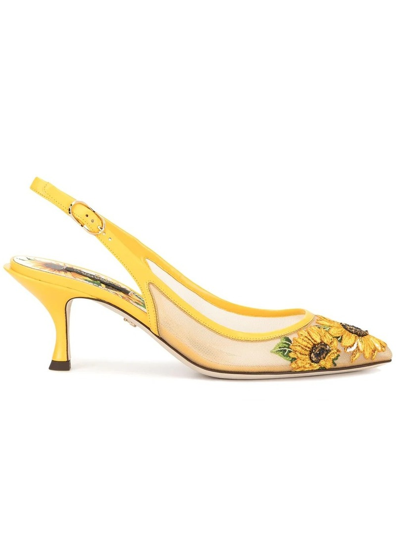 Dolce & Gabbana sunflower embroidery slingback pumps