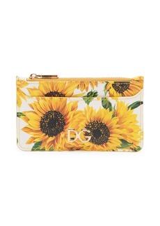 Dolce & Gabbana Sunflower Leather Card Case