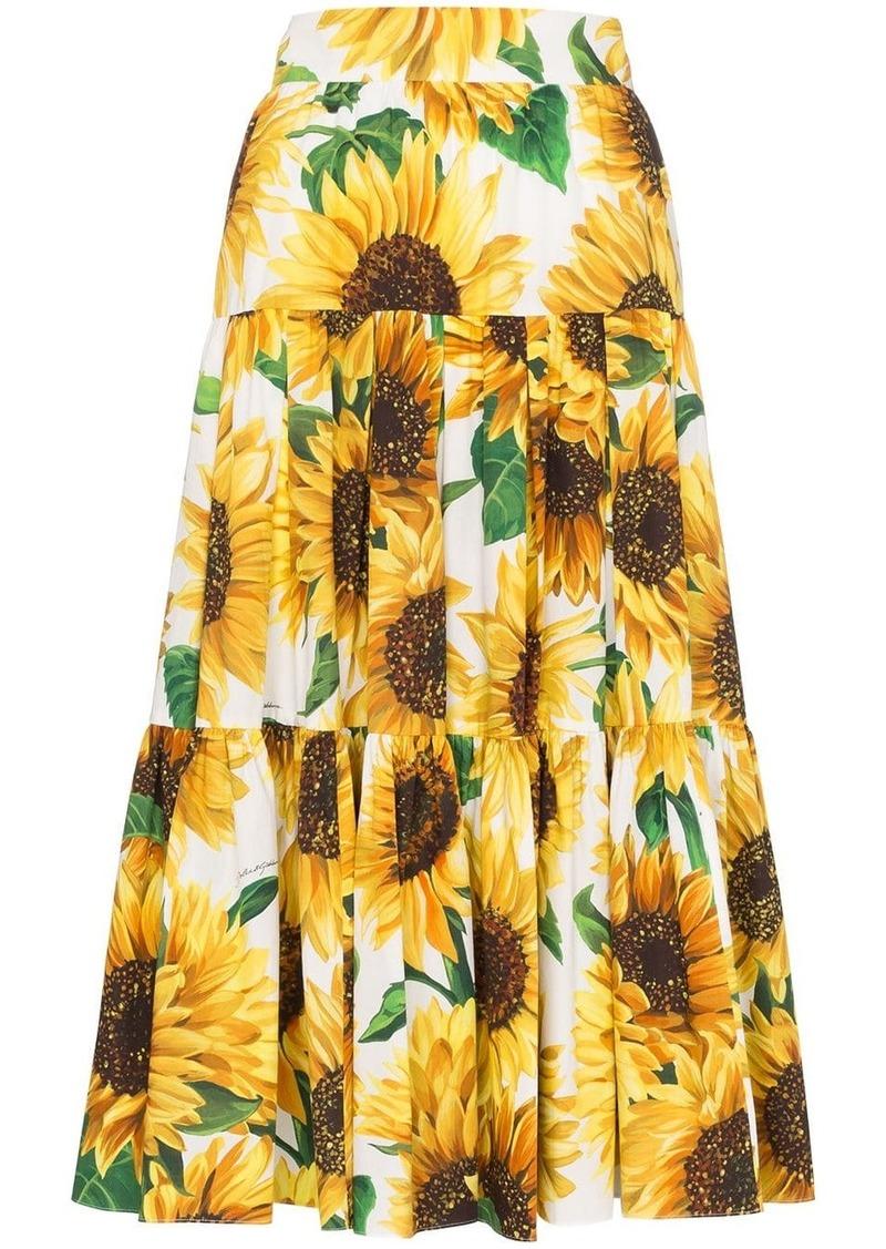 Dolce & Gabbana sunflower print midi skirt