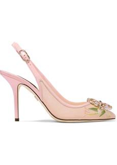 Dolce & Gabbana Swarovski Crystal-embellished Patent Leather-trimmed Floral-print Mesh Slingback Pumps