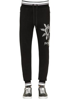 Dolce & Gabbana Tape Print Cotton Jersey Sweatpants