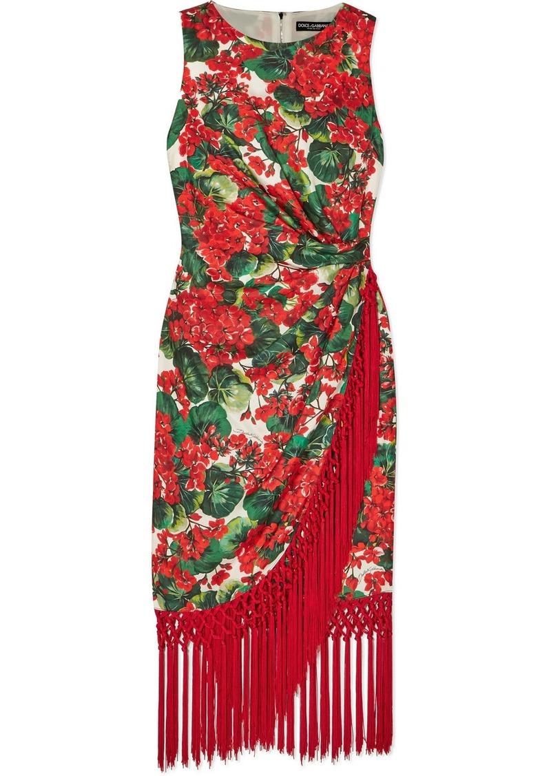 Dolce & Gabbana Tasseled Floral-print Silk-blend Faille Dress