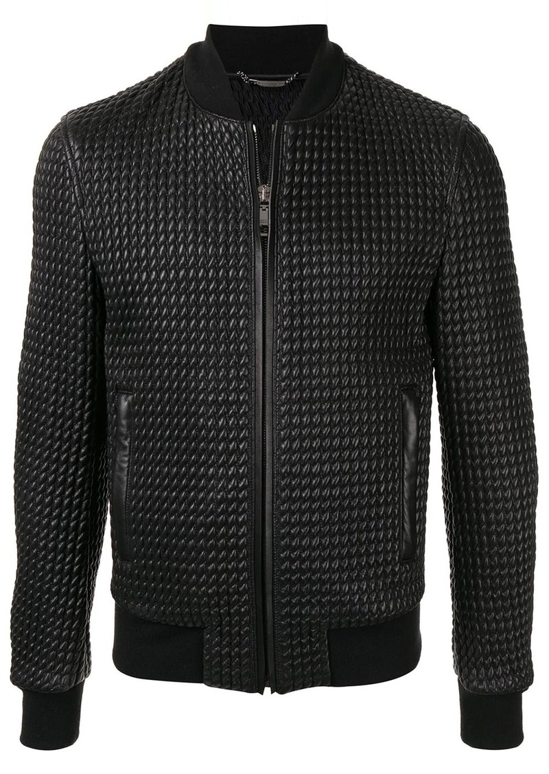 Dolce & Gabbana textured leather bomber jacket