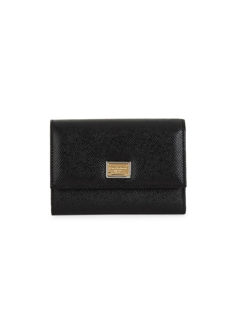 Dolce & Gabbana Textured Leather Tri-Fold Wallet