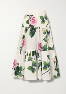 Dolce & Gabbana Tiered Floral-print Cotton-poplin Midi Skirt
