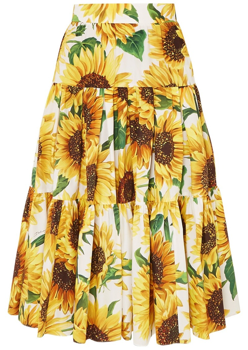 Dolce & Gabbana Tiered Floral-print Cotton-poplin Skirt
