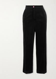 Dolce & Gabbana Topstitched Cotton-velvet Slim-fit Pants