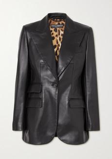 Dolce & Gabbana Topstitched Leather Blazer