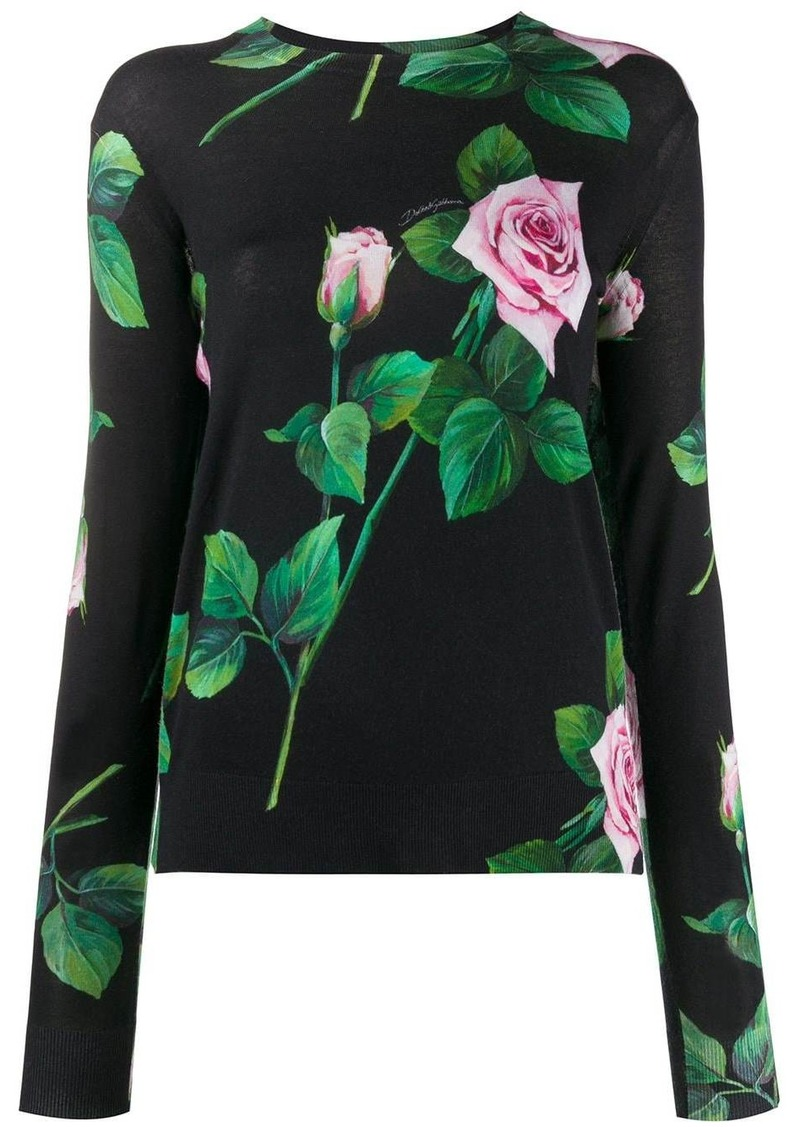 Dolce & Gabbana tropical rose print jumper