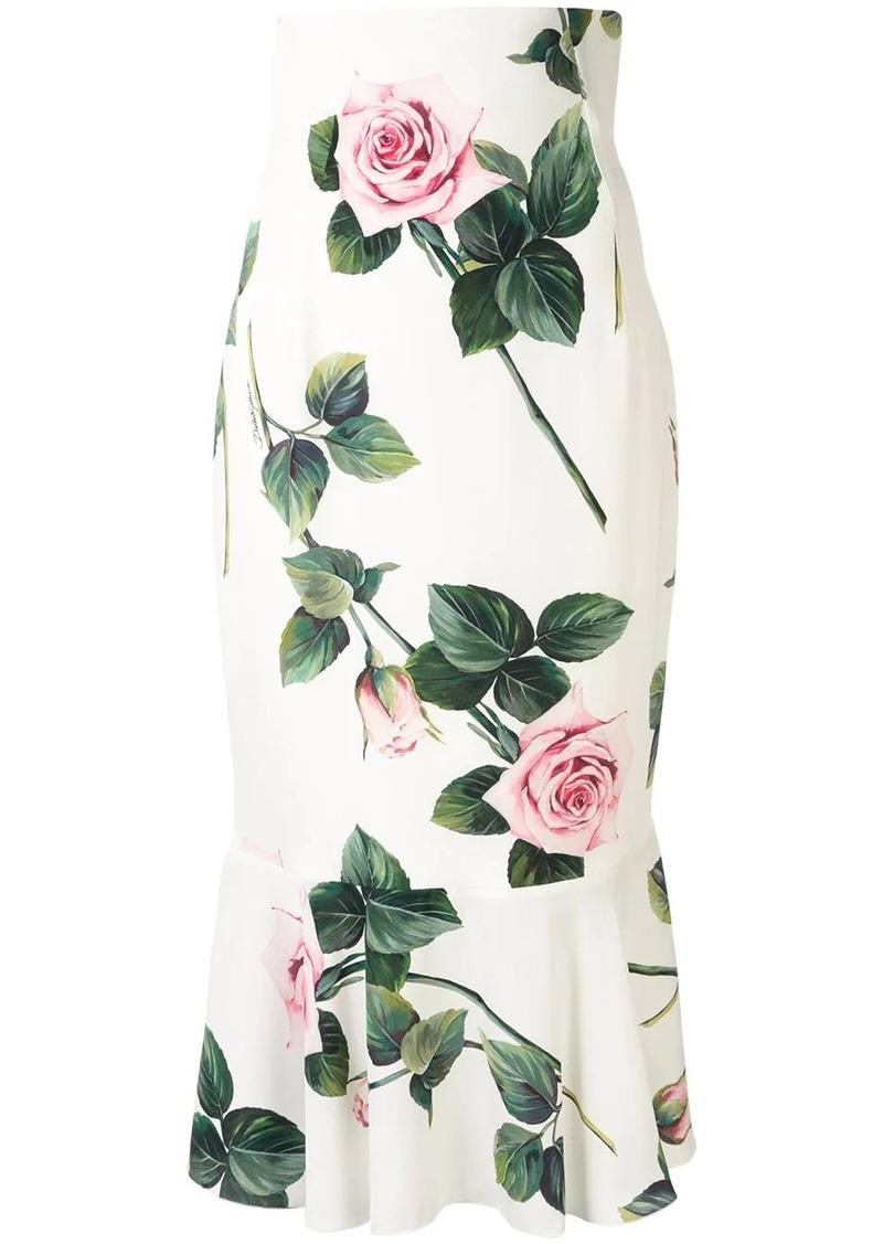 Dolce & Gabbana tropical rose print midi skirt