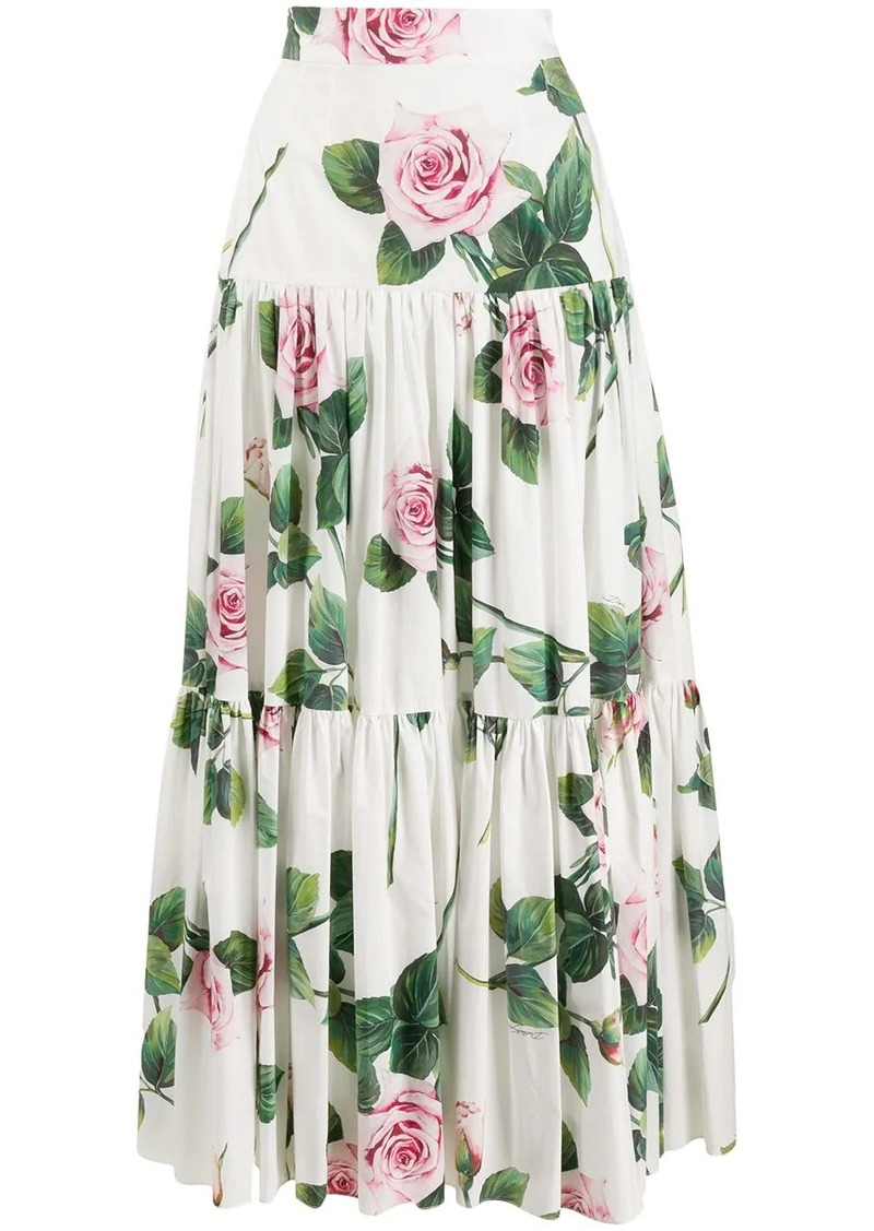 Dolce & Gabbana tropical rose print skirt