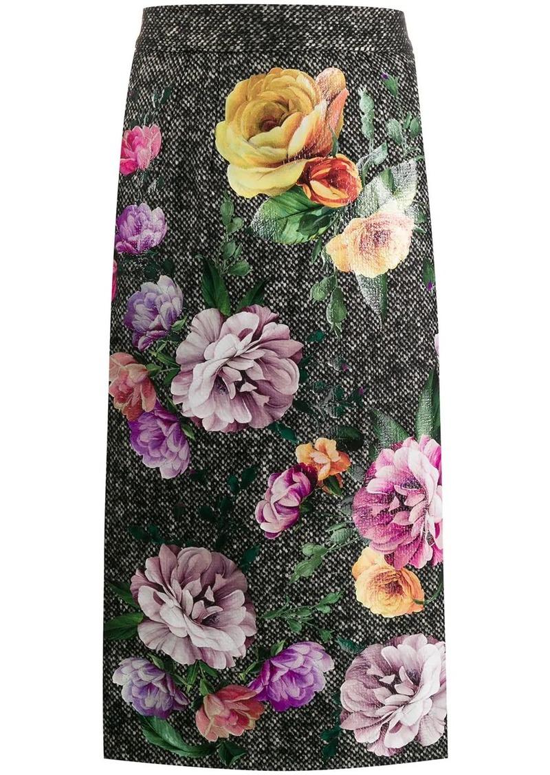 Dolce & Gabbana tweed floral print skirt