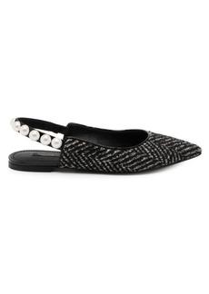 Dolce & Gabbana Tweed Pearl Slingback Flats