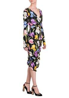 Dolce & Gabbana V-Neck Ruched Sheath Dress