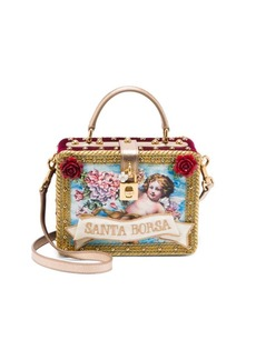 Dolce & Gabbana Velvet Appliqué Convertible Silk Top Handle Bag
