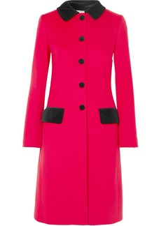 Dolce & Gabbana Velvet-trimmed Wool And Cotton-blend Coat