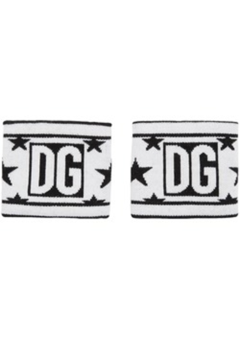 Dolce & Gabbana White & Black Wool Millennial Star Wristbands