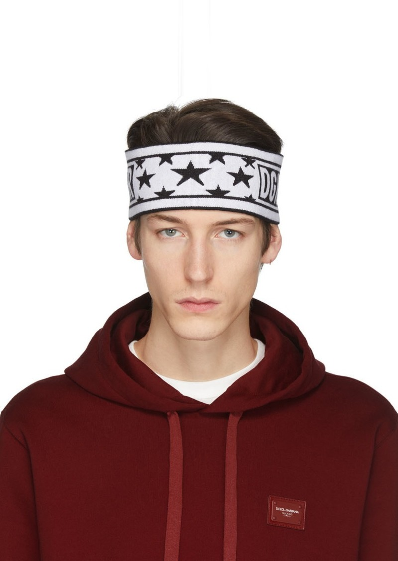 Dolce & Gabbana White & Black Wool Millennials Star Headband