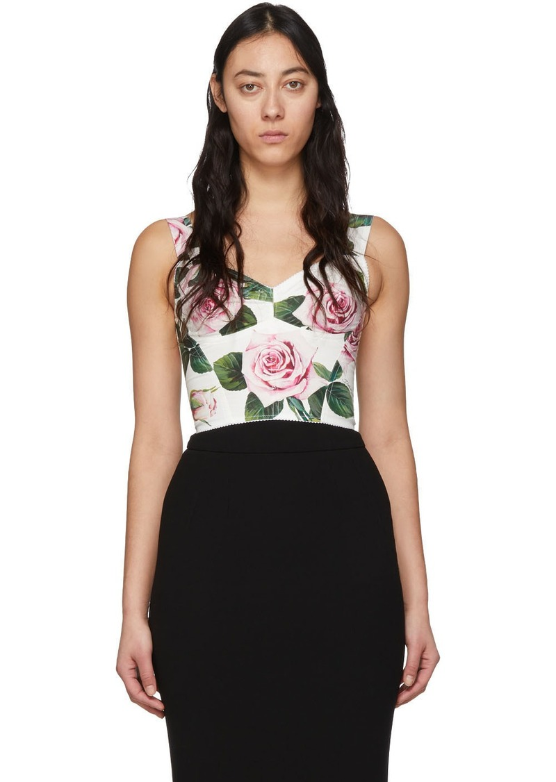 Dolce & Gabbana White & Pink Rose Print Bustier