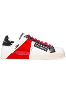 Dolce & Gabbana white, black and red portofino leather sneakers