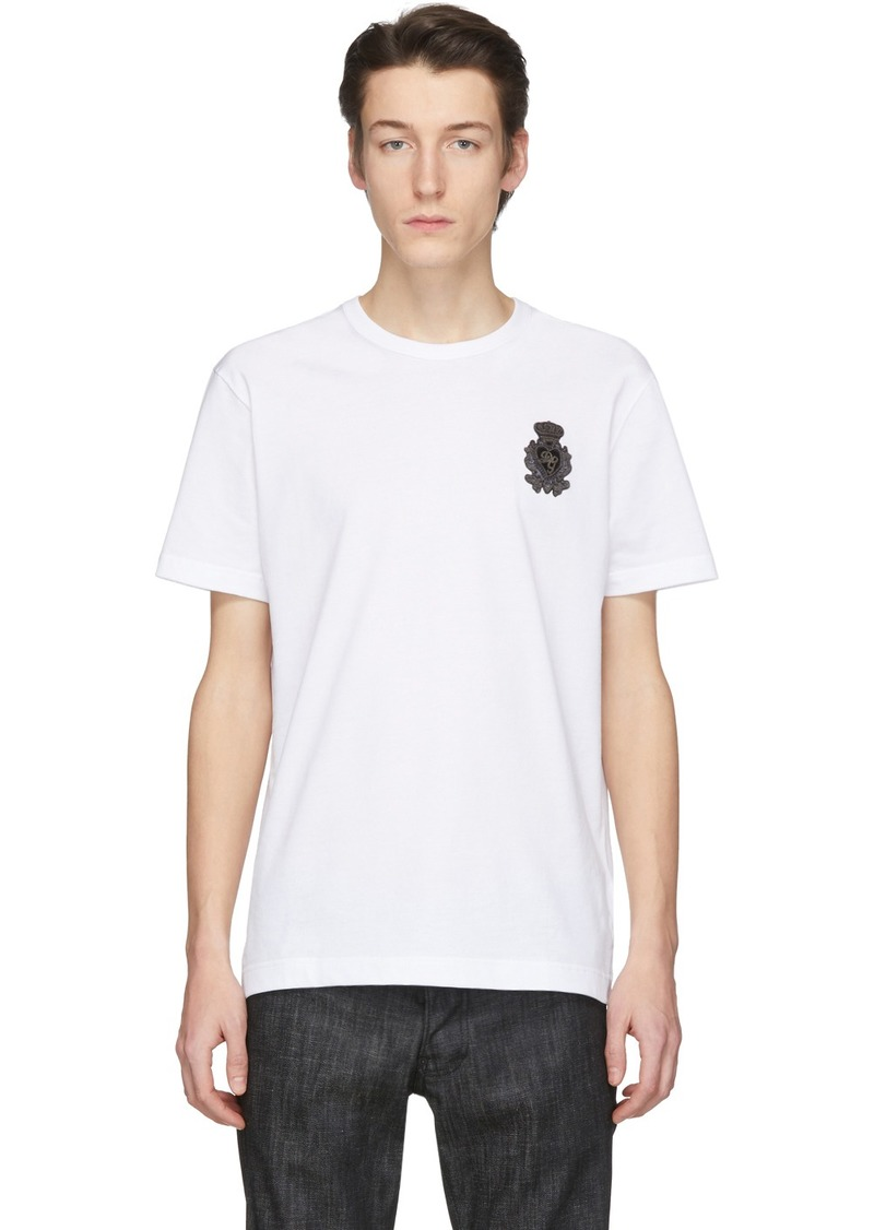 Dolce & Gabbana White Embroidered Crown Patch T-Shirt